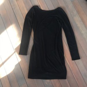 Black Cotton Blend Crew Neck Deep V Back Dress